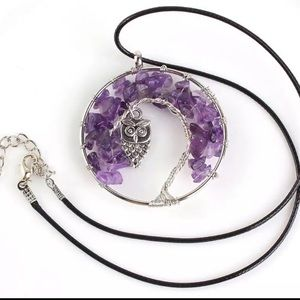 Jewelry - New Amethyst Owl Statement Necklace & Earring Set